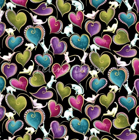 Cat-i-tude - Cats & Hearts - Black