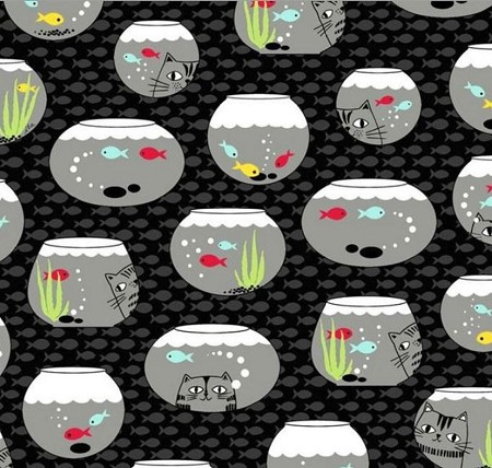 Fat Quarter - Cat Fish - Fish Bowls - Black
