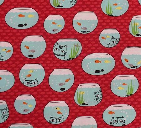 Fat Quarter - Cat Fish - Fish Bowls - Red