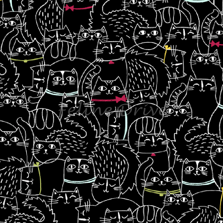 Fat Quarter - Cat Fish - Sketched Cats - Black