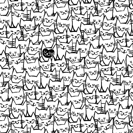 "Cat Happy - Cat Faces - White - 108"" Wide Backing"
