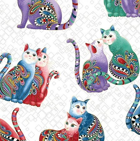 Fat Quarter - Cat-i-tude 2 - Purrfect Together - Playful Cats - White