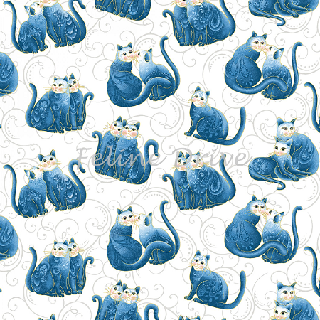 Cat-i-tude 2 - Purrfect Together - Cats on Scroll - Blue