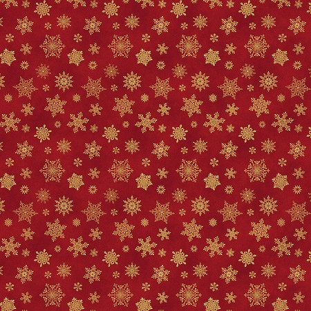 Fat Quarter - Cat-i-tude Christmas - Metallic Snowflakes - Red