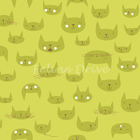 Catnap - Cat Faces - Green