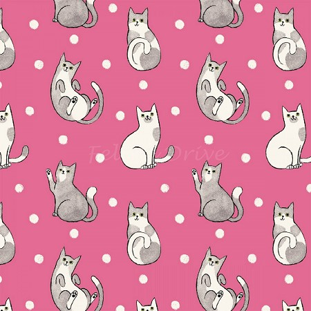 Fat Quarter - Catnip - Happy Cats - Fuchsia