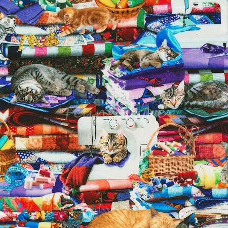Fat Quarter - Fabric Goddess - Cats on Quilts - Multi