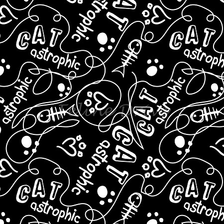 Fat Quarter - Cats Rule - Catastrophic - Black