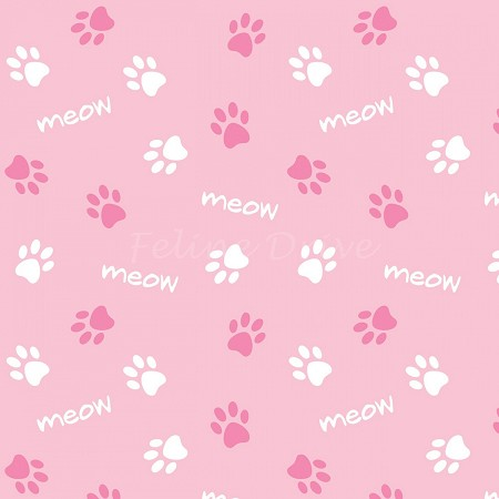 Fat Quarter - Cats Rule - Paws - Pink