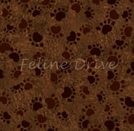 End of Bolt Piece - Counting Kittens - Paw Prints - Brown - 4.5""