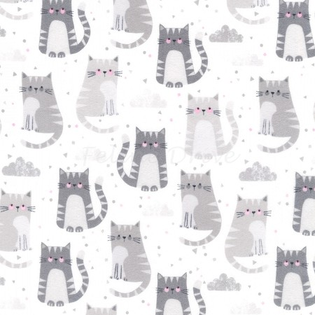 End of Bolt Piece - Flannel - Cuddly Kittens 2 - Kittens - Grey - 34""