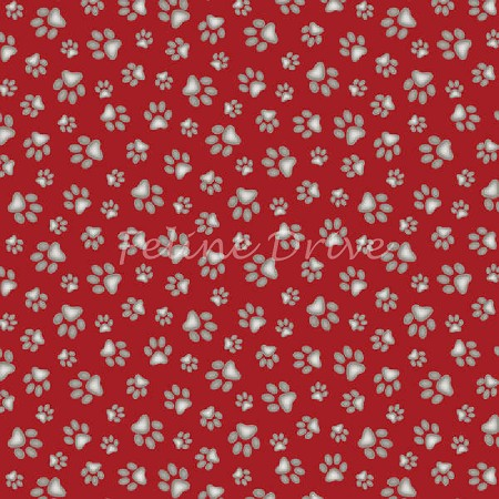 End of Bolt Piece - Curious Cats - Paw Prints - Red - 8.5""