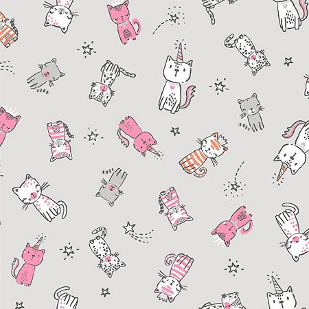 Fat Quarter - Meowgical - Purring Friends - Nickel