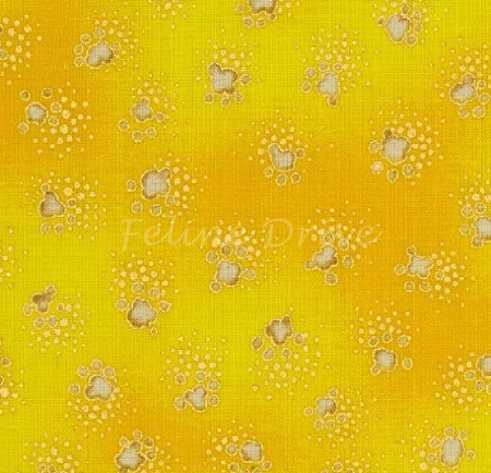 Fat Quarter - Fabulous Felines - Paw Prints - Yellow