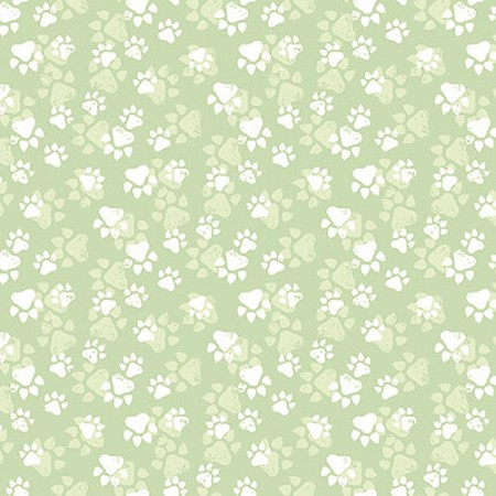 Fancy Cats - Paw Print - Green
