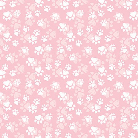 Fat Quarter - Fancy Cats - Paw Print - Pink