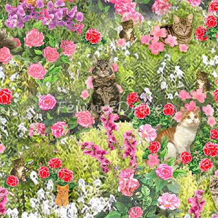 Fat Quarter - Fancy Felines - Cats in the Garden