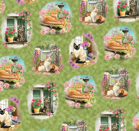 Fat Quarter - Fancy Felines - Cat Vignettes - Green