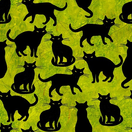 Fat Quarter - Ghost Party - Black Cats - Green