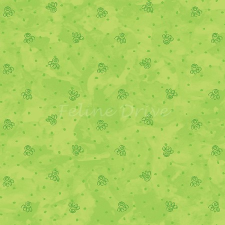 Fat Quarter - Happy Catz - Cat Paws - Green