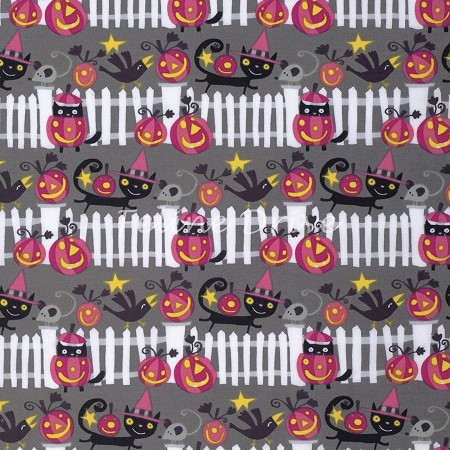 Fat Quarter - Happy Halloween Fence - Vampire