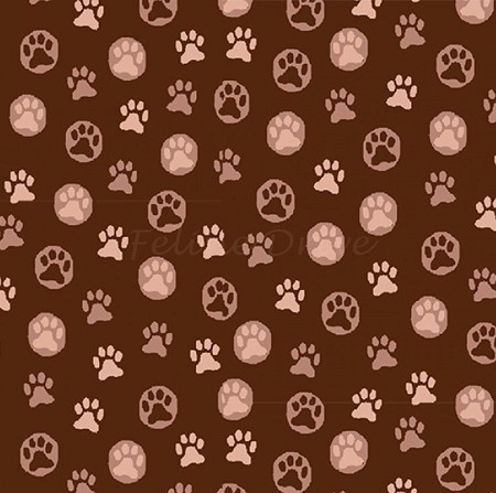 Fat Quarter - Hats for Cats - Paw Prints - Brown