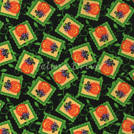 Fat Quarter - Hocus Pocus - Cats in Pumpkins - Black