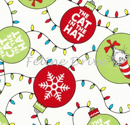 Fat Quarter - Holiday Dr. Seuss - The Cat in the Hat Christmas - White