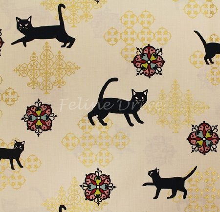 Fat Quarter - Hyakka Ryoran Neko 2 - Cats & Medallions - Cream