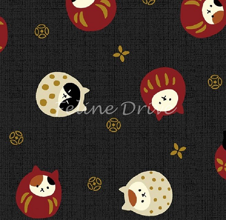 Fat Quarter - Hyakka Ryoran Neko 3 - Round Cat Toss - Black