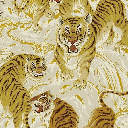 End of Bolt Piece - Hyakka Ryoran Tora - Large Tigers - Cream - 8""