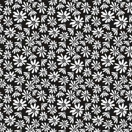 Fat Quarter - Juniper - Daisies - Black