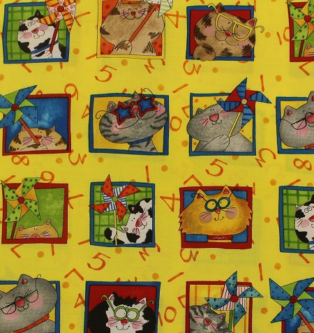 Fat Quarter - Kitten Capers - Cat Blocks - Yellow
