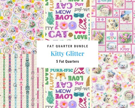 Fat Quarter Bundle - Kitty Glitter - 5 FQs