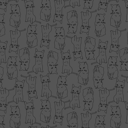 Fat Quarter - Kitty Kitty - Charcoal Cats