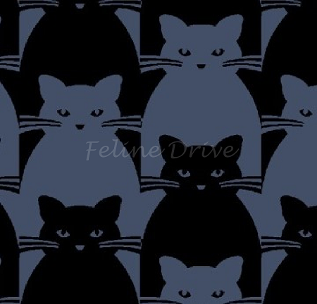 Fat Quarter - Kitty Kitty - Tonal Cat - Black