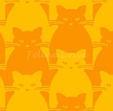 Fat Quarter - Kitty Kitty - Tonal Cat - Orange