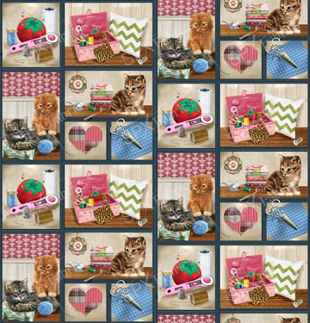 Fat Quarter - Krafty Kittens - Patchwork