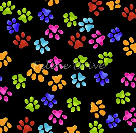 Fat Quarter - Loralie's Cool Cats - Paw Prints - Black