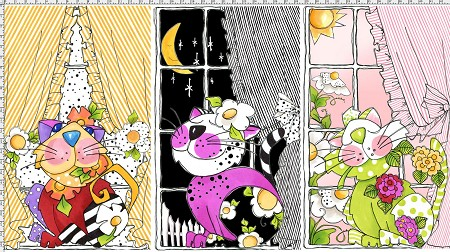 Loralie's Calico Cats - Kitties in the Window - Panel