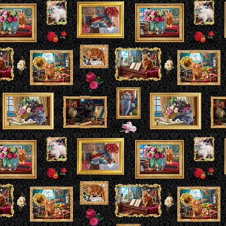 Fat Quarter - Madame Victoria's Elegant Cats - Cats in Frames