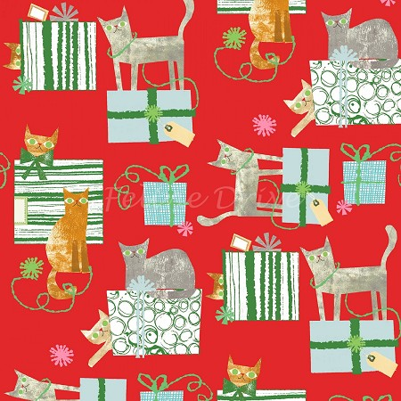 Make Merry - Gift-Wrapped Cats - Red