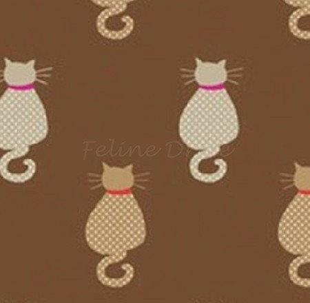 Fat Quarter - Meow Cats - Sitting Cats - Brown