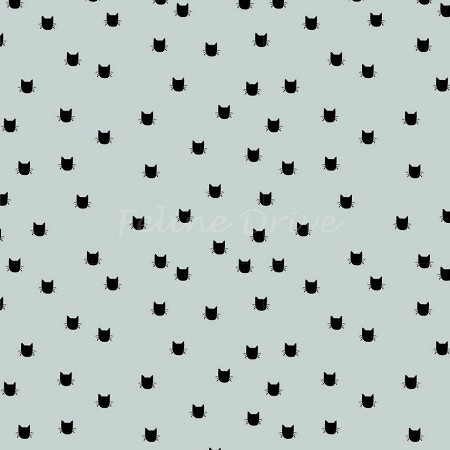 End of Bolt Piece - Flannel - Meow (Riley Blake) - Cat Dot - Grey - 5.5""