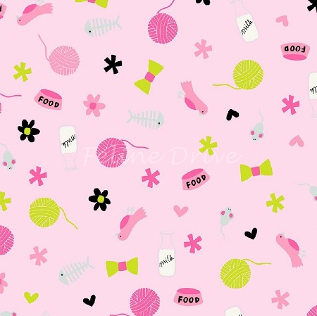 Fat Quarter - Meow (Riley Blake) - Cat Things - Pink