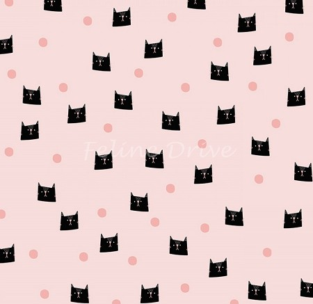 Fat Quarter - Meow & Forever - Cats & Dots - Pink
