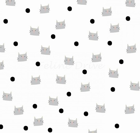 Meow & Forever - Cats & Dots - White