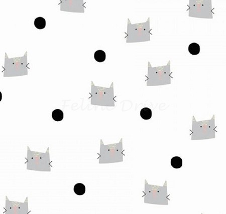 Fat Quarter - Meow & Forever - Cats & Dots - White