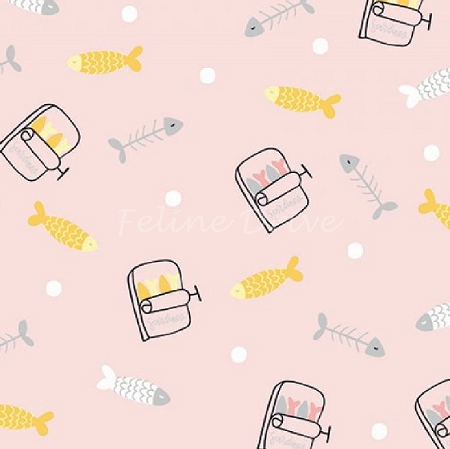 Fat Quarter - Meow & Forever - Fish - Pink