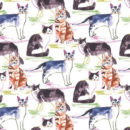 Fat Quarter - Meow's It Going - Cats - Multi